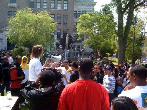 Clayton, a Franklin senior, speaks to the crowd